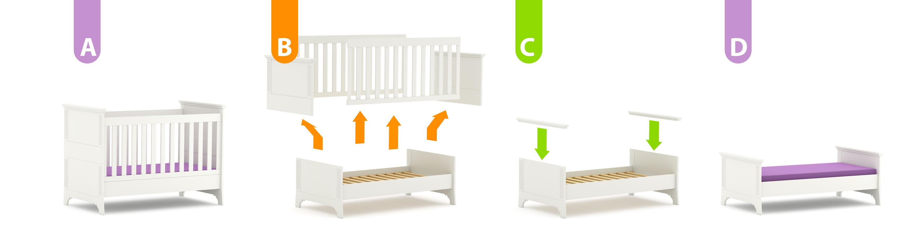 Kinderbett Clariss White ohne Bettkasten, Timoore