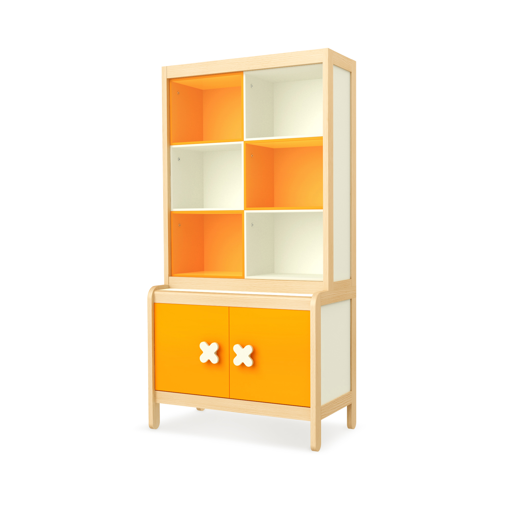 Sideboard Simple Orange mit Buchregal, Timoore