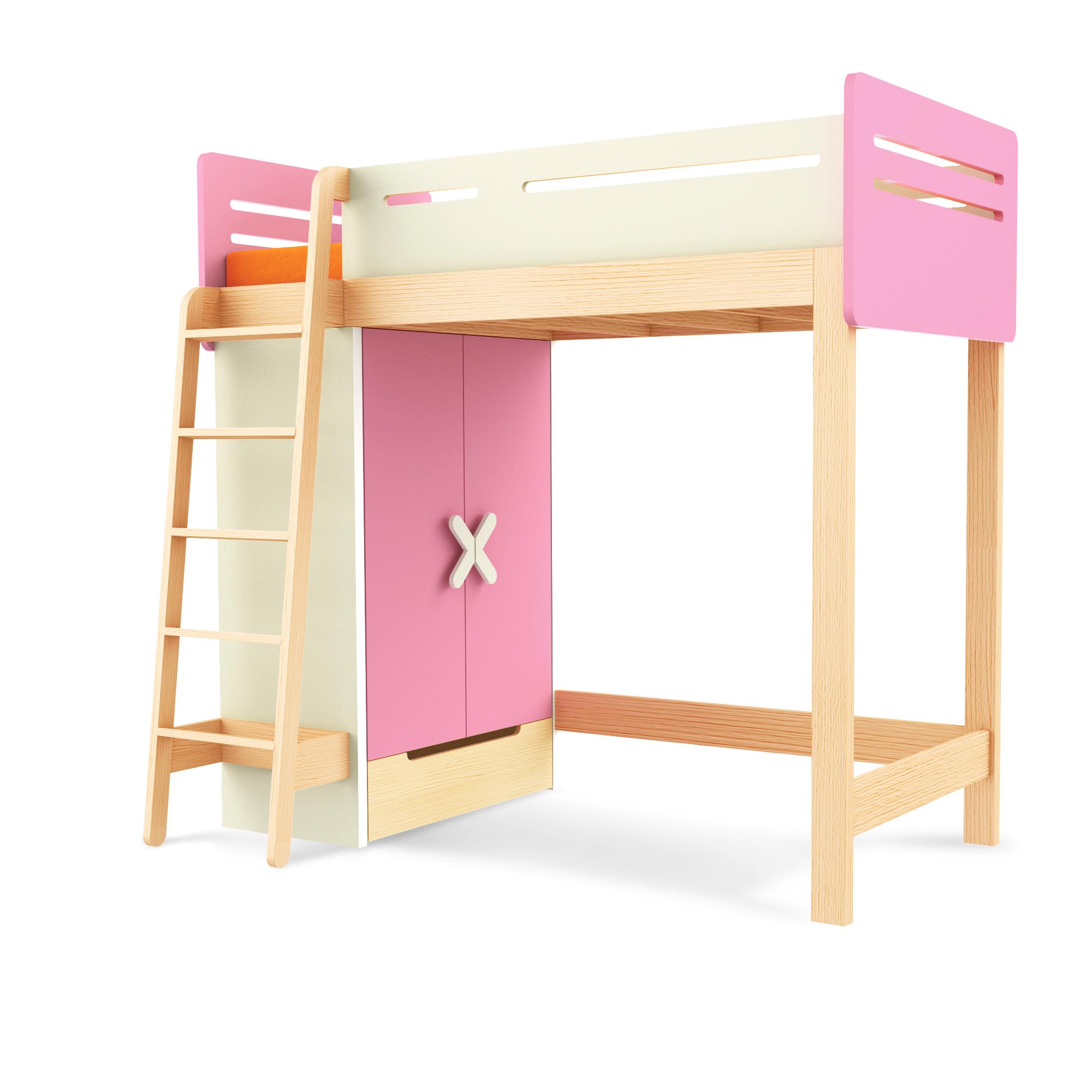 Hochbett Simple Pink Leiter/Schrank links, Timoore