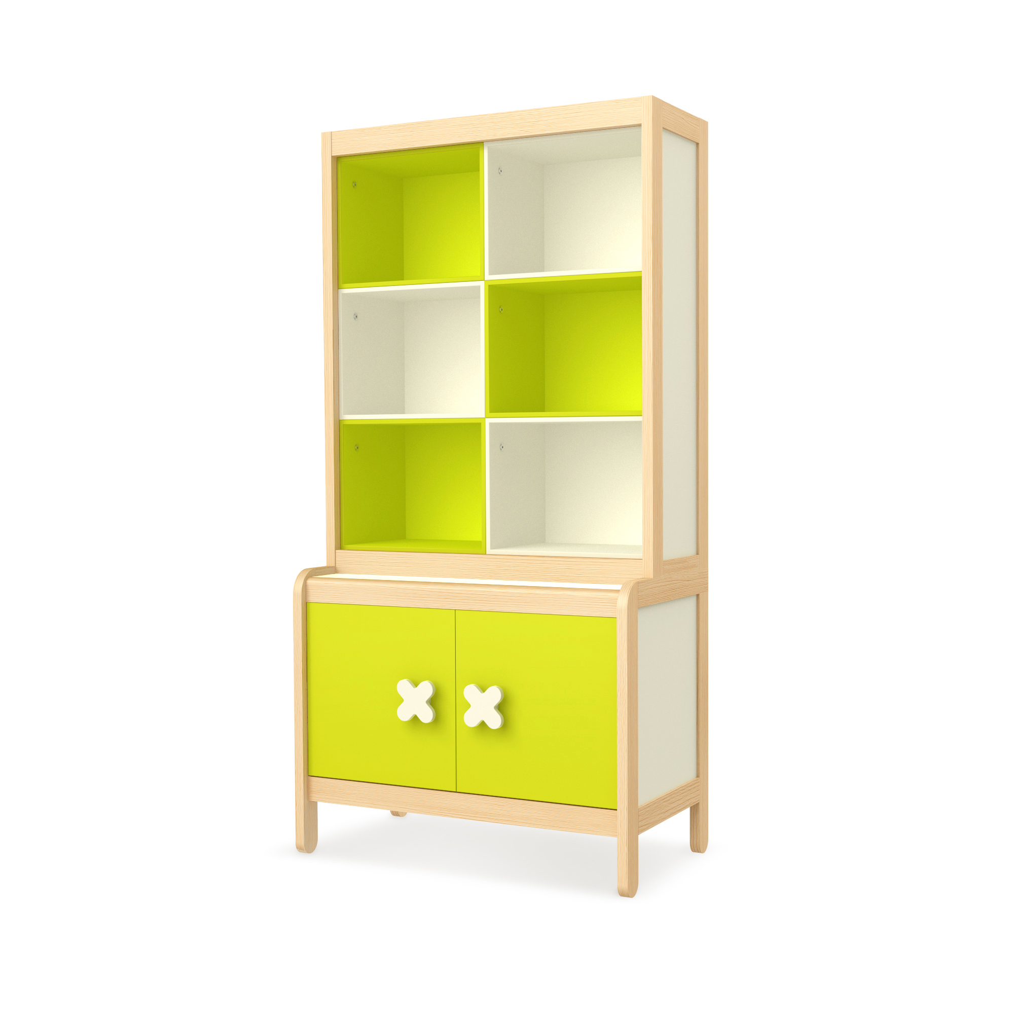 Sideboard Simple Green mit Buchregal, Timoore