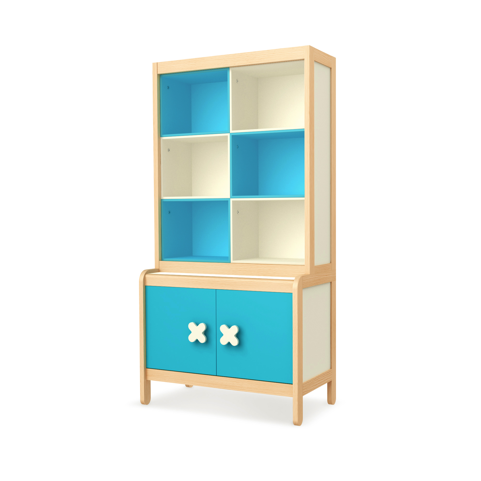 Sideboard Simple Blue mit Buchregal, Timoore