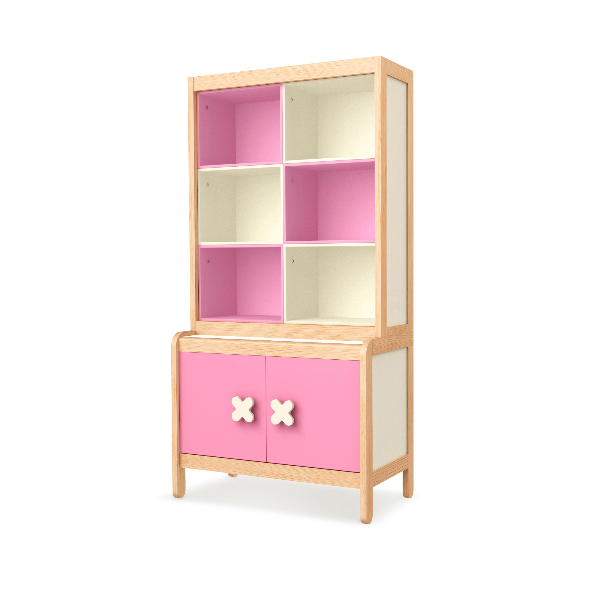 Sideboard Simple Pink mit Buchregal, Timoore