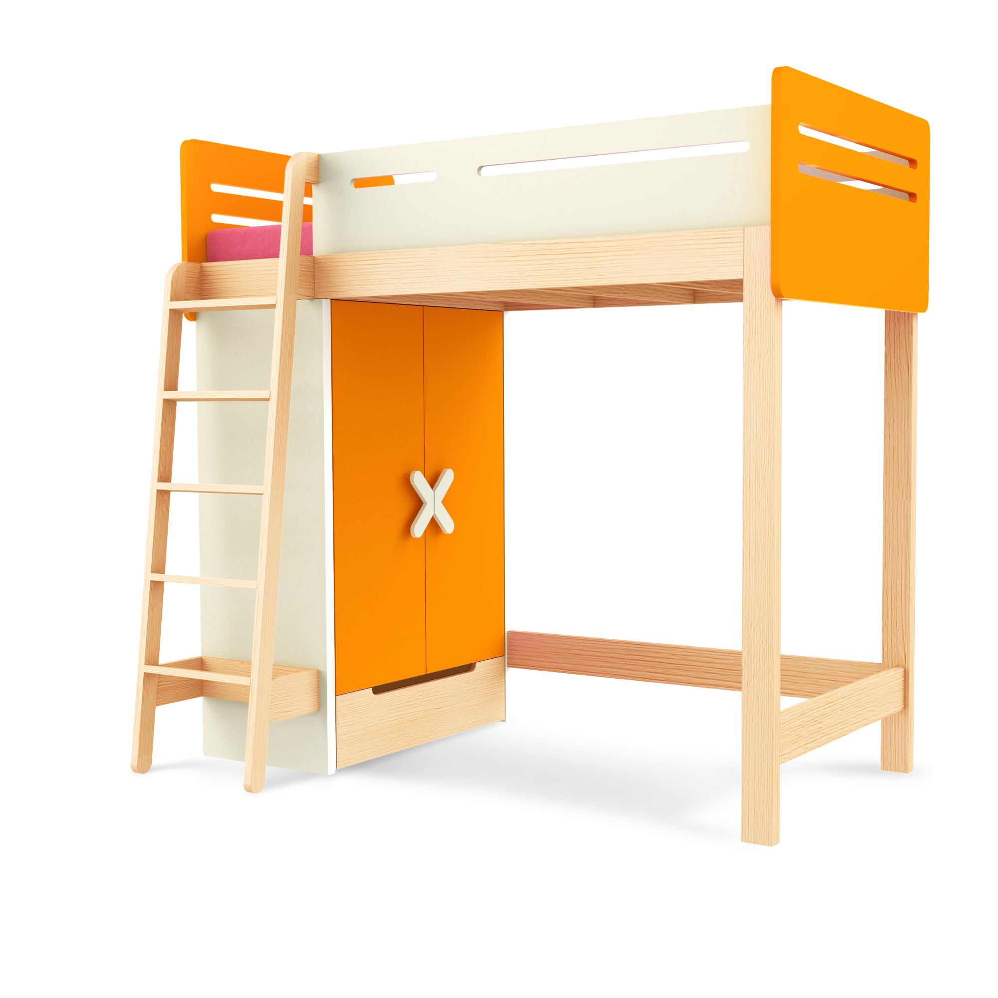 Hochbett Simple Orange Leiter Rechts, Timoore